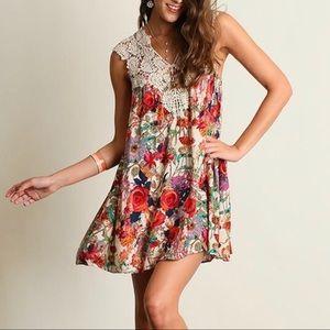 Umgee Summer Floral Print Mini A-Line Dress Small